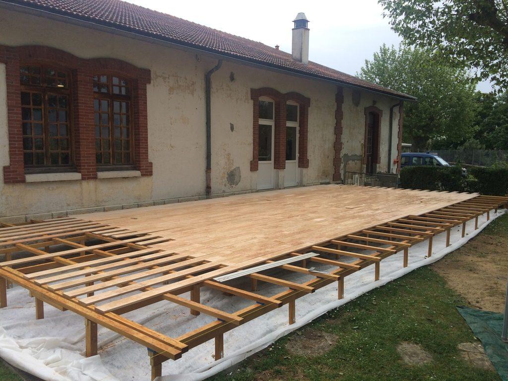 terrasse en ch taignier garde corps bois acc s handicap. Black Bedroom Furniture Sets. Home Design Ideas